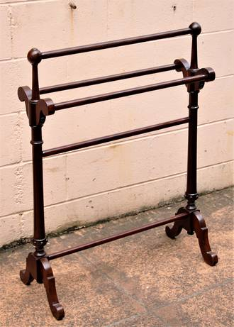 Antique Turned Beech Drying Rack or Towel Rail