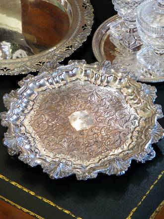 Early 'Old Sheffield Plate' Footed Tray, Silver over Copper, Georgian