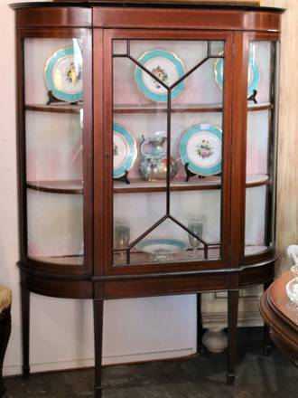 Antique Astragal Display Cabinet with Inlaid Banding and Curved glass $2500.00