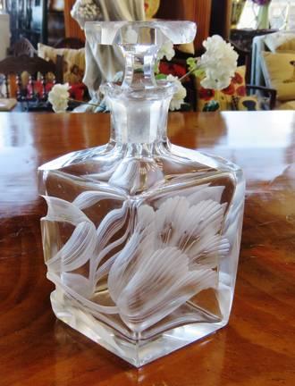 Art Nouveau Bohemian Intaglio Perfume Bottle by Moser ~ RARE