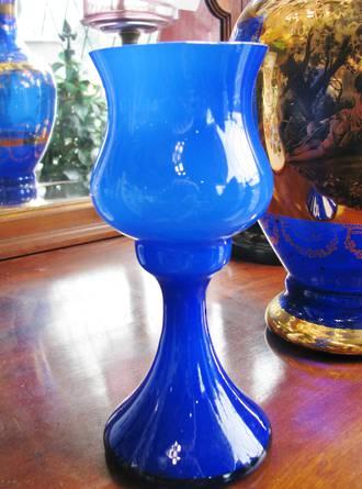 Mid Century Italian Hand-Blown Cased Glass Goblet Vase by Empoli