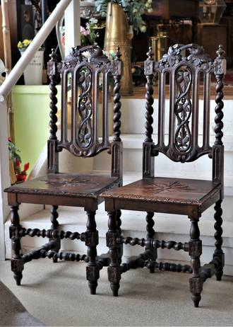 Pair of Jacobean Oak Chairs - Barley Twist & Fruit Carvings $1,100pr