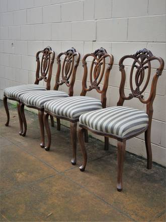 Antique Chippendale Style Dining Chairs x 4 - $1800 set