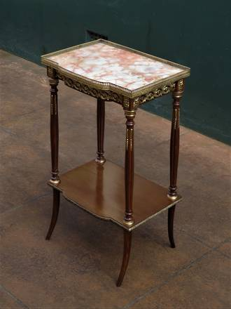 French Console, Hall or Parlor Table - Marble Topped with Fancy Brass Ormolu Surround SOLD