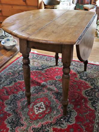 Antique English Pine Rustic Dining Table - Round Drop Leaf  - SOLD