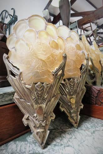 Phenomenal Original Art Deco Wall Sconces, Molded Glass Slip Shades, Peach Gold Lustre SOLD