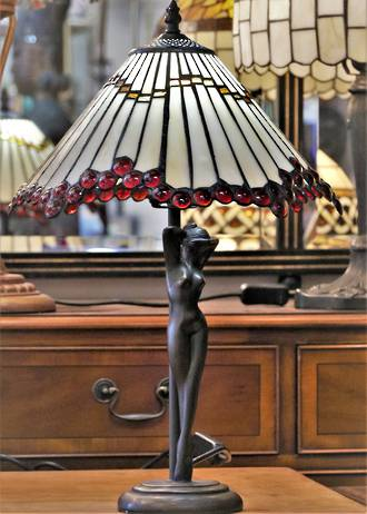 Art Deco Lady Lamp - Bespoke Glass Mosaic Shade in the Tiffany Style