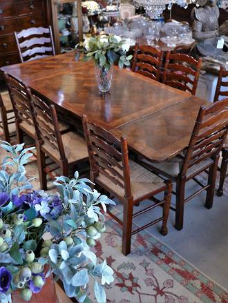 French Oak Provincial Extension Table Parquetry Top -  $3250.00