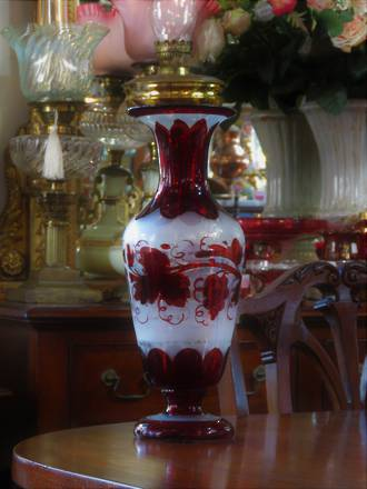 Antique Bohemian Overlay Ruby Glass Vase