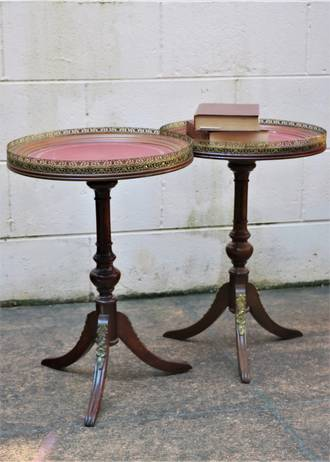 Vintage Pair of French Walnut Side Tables - Tooled Red Leather Tops $900