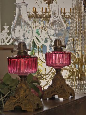 Cranberry Glass Kerosene Lamp - SOLD - Similar Available In Store