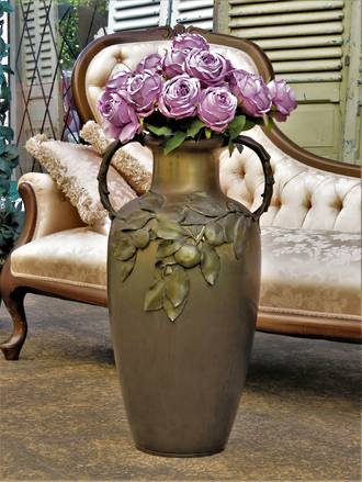 Huge German Brass Floor Vase with Applied Fruit SOLD