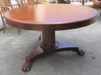 Handsome Antique Regency Mahogany Pedestal Table $2750.00