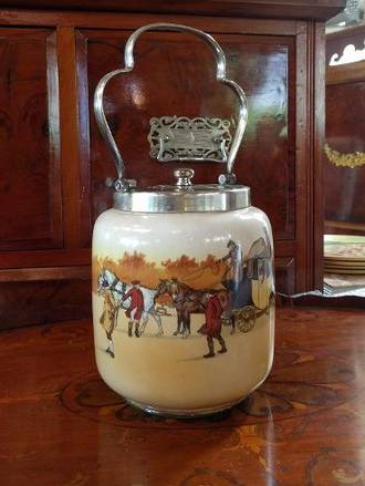 Royal Doulton Coaching Scene Biscuit Barrel