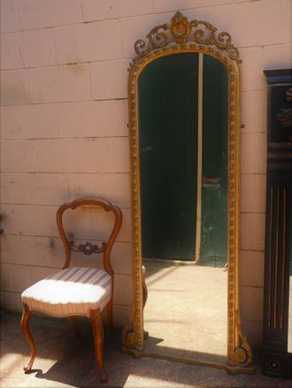 19th Century French Gilt Wall Mounted Dressing Mirror $1750