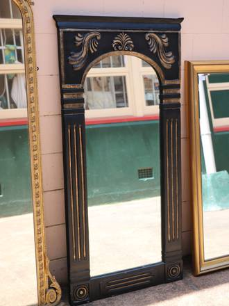 Large Empire Style Black & Gold Dressing Mirror  - Carved Wood - $750
