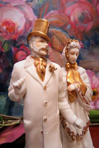 Pr Continental Gilt White Porcelain Quirky Figures - Steam Punk Style