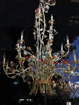 Huge French Painted Wrought Iron Chandelier - 18 lamps $3950.00