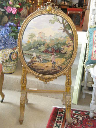 Antique French Ladies Fire Screen with Tapestry $950