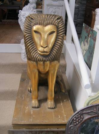 Carved Gilt Entrance way Egyptian Lions $6995.00 pr