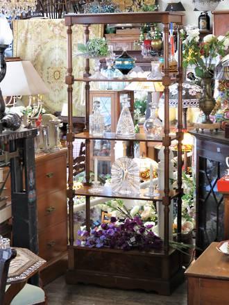 Mid Century Mahogany Tall Open Display Shelf