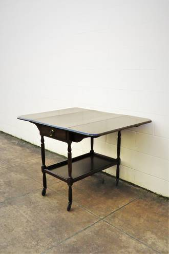 Antique Mahogany Drop-Leaf Trolley Table $495
