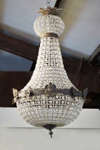 Antique Style Hand-Beaded Basket Chandelier Medium $2750.00
