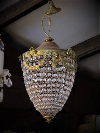 Vintage French Basket Chandelier in Acorn Form