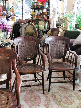 Unique Antique American Cane Back Carver Dining Chairs - Set of 5 SOLD