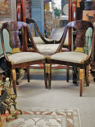 Empire Style Hollywood Regency  Faux Burl & Gilt Chairs $1100 pr