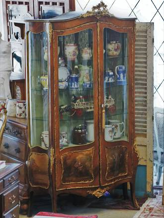 Large Antique Vitrine French Display Cabinet - Painted Scene- Ormolu mounts $9500.00