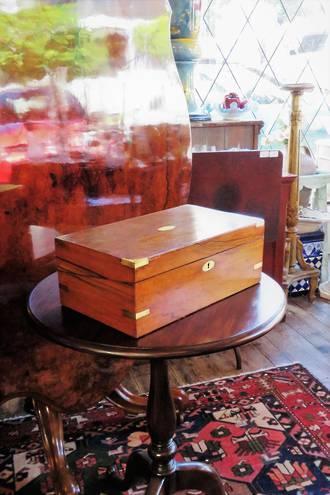 Antique Brass Bound Walnut Writing Slope