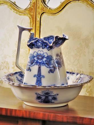 Outstanding Art Nouveau Blue Under-glazed Pitcher & Wash Basin