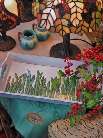 Bespoke Asparagus Decoupage Wooden Tray SOLD