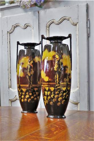 Pr Twin Handled Hand-Painted Glazed Pottery Vases $1850.00 pair