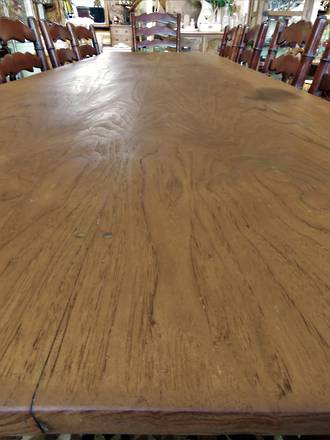 Arts & Crafts Solid Chestnut 12 place Plank Dining Table - SOLD