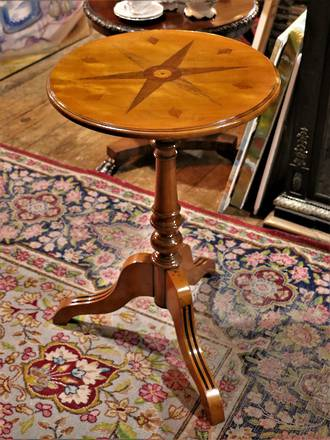 Parquetry Side Table with Inlaid Star Pattern
