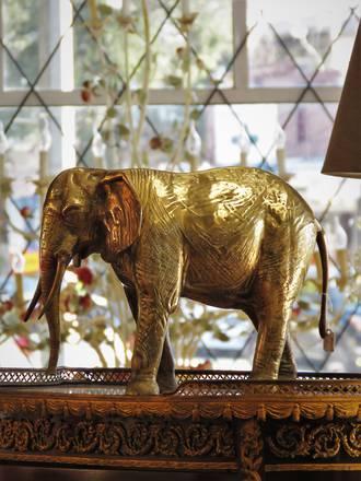Large Bronze & Brass African Elephant Sculpture SOLD