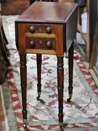 Georgian Drop-Leaf Ladies Work Table or Pembroke Table, Lockable $1850