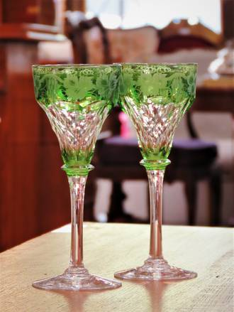 Art Deco John Walsh Cut-to-Clear Green Crystal -  Wheel Engraved Fruiting Vine $225.00 pair