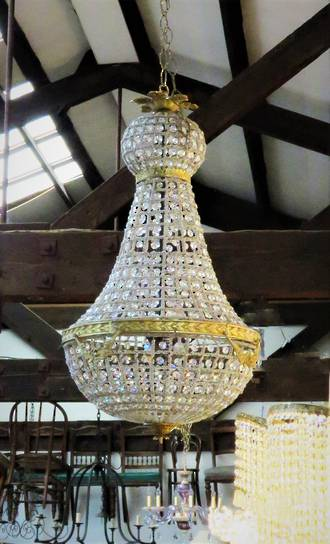 French Beaded Basket Chandelier - Gilded - Medium $2500 Large $3950  Largest $4950