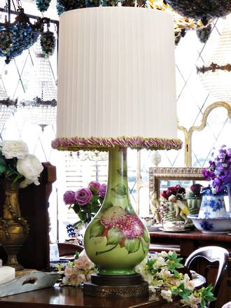 Large Hand-Painted Porcelain Table Lamp - Bespoke English Ribbon Shade SOLD