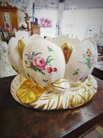 Clarice Cliff Lotus Bowl Rare Duvivier Pattern With Gilt Detailing