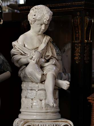 Vintage Garden Figural Statue on Pedestal - Glazed White Seated Boy $1350