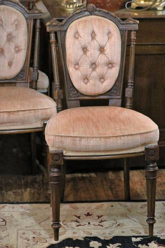 Antique Pink Velour Button Back Dining Chairs x 8