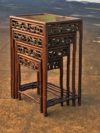 Antique Carved Chinese Nest of Tables SOLD