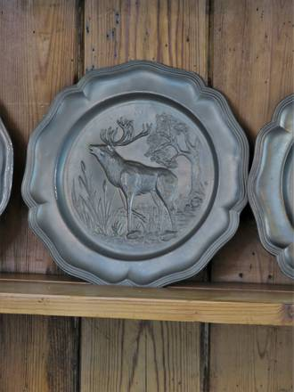 Antique Pewter Repousse Stag or Elk Decorative Plate