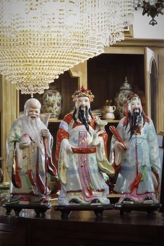 Vintage Set Fu, Lu, & Shou Porcelain Chinese Gods on Carved Stands $998.88