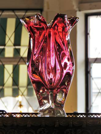 Large Tall Mid Century Murano Art Glass Vase - Cased Cranberry Ruby Graduating Tones SOLD