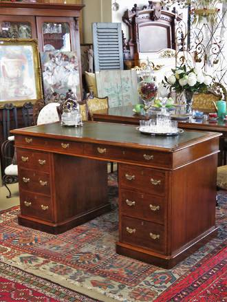 Antique English Oak Pedestal Desk SOLD Similar desk in stock now!